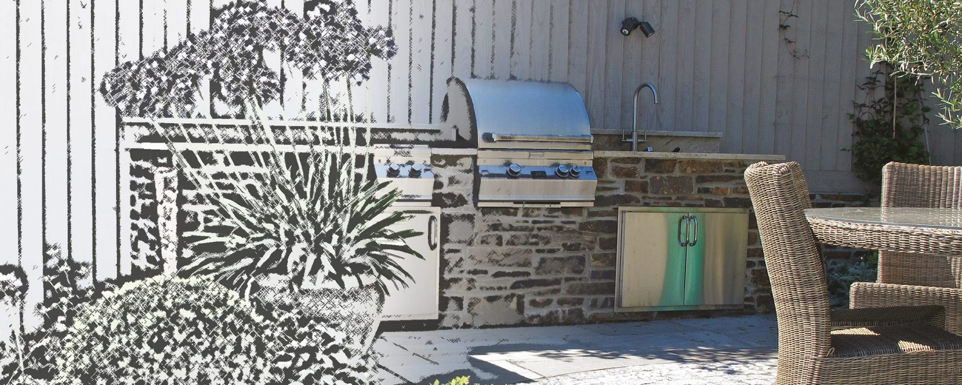 Lapa Sketch to real outdoor kitchen