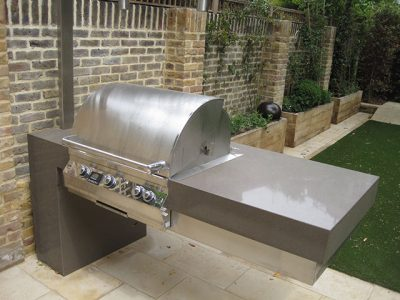 Outdoor kitchen shoots and leaves